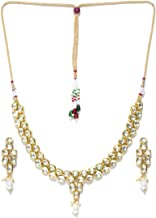 Jewels Galaxy Attractive Kundan Studded Exquisite Design Gold Plated Traditional Necklace Set for Women/Girls Gold
