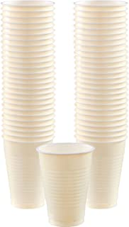 Big Party Pack Vanilla Creme Plastic Cups | 12 oz.| Pack of 50 | Party Supply