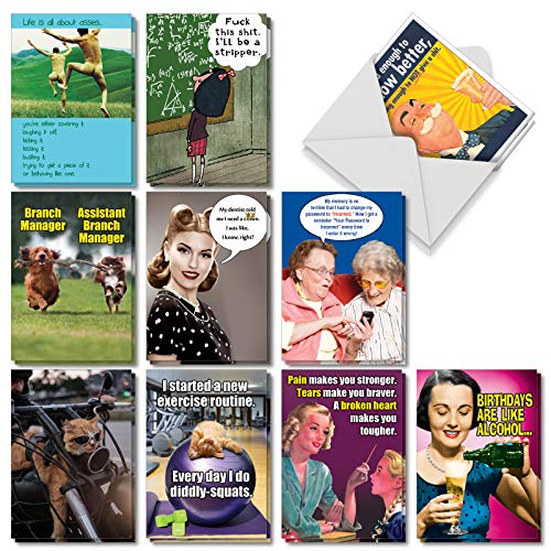 NobleWorks, Very Funny Birthday - 20 Assorted Happy Birthday Cards with Envelopes (10 Designs, 2 Each) - Assortment of Funny Bday Cards - Pet Animals, Retro Designs, Cartoon AC5979BDG-B2x10