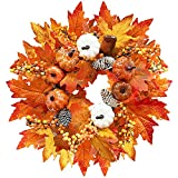 TURNMEON 15' Fall Wreath Thanksgiving Decorations for Front Door with Pumpkins Pinecone Berry Artificial Maples Leaves Wreath Autumns Harvest Fall Thanksgivings Halloween Decoration Indoor Outdoor