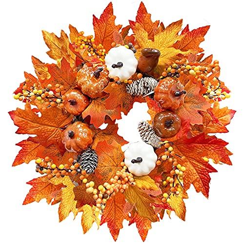 fall front door wreath with pumpkin