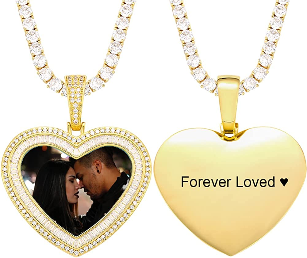YIMERAIRE Personalized Picture Max 42% OFF Necklace Al sold out. Custom Heart Text Photo