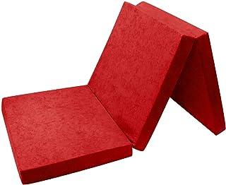 Fortisline - Colchón supletorio plegable para invitados, futón, puf, 195x80x9cm, color rojo