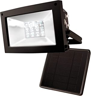 MAXSA Solar-Powered 10 Hour Floodlight. Uplight Signs, Flags, Statuary & Outdoor Spaces. Durable & Weatherproof Dusk-to-Dawn Solar LED Light, Black, in Reshippable package 40330-RS
