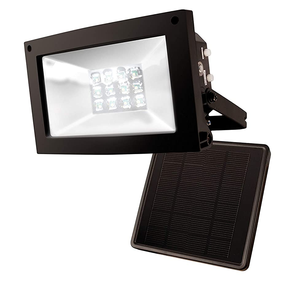 MAXSA Solar-Powered 10 Hour Floodlight. Uplight Signs, Flags, Statuary & Outdoor Spaces. Durable & Weatherproof Dusk-to-Dawn Solar LED Light, Black 40330