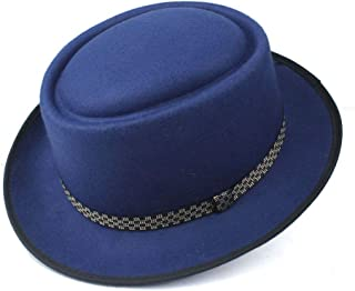 SAIPULIN-AU Men's and Women's Flat Top Cap Fedora Ms. Fascinator Casual Wild Style British Style Top Hat Fedora Hat Gentleman Daddy Church Hat (Color : Blue, Size : 58)