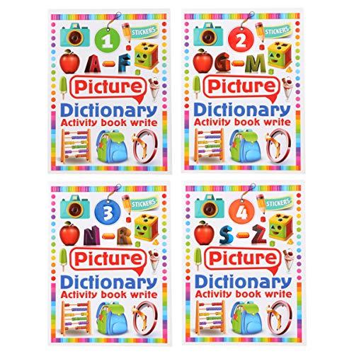 NUOBESTY 4-Delig Beeldwoordenboek Kleurrijk Engels Praktisch Overvloedig Creatief Vroeg Educatief Boek Briefboek Cognitief Boek Voor Kinderen Peuter Kinderen