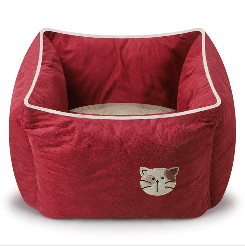 Fashion Suede Square Cat Nest Pet Bed Autumn Winter Thicken Cat Bed Cat Sofa Cat Mat Dirt Resistant Depth Sleep 5 colors  40  40  22cm