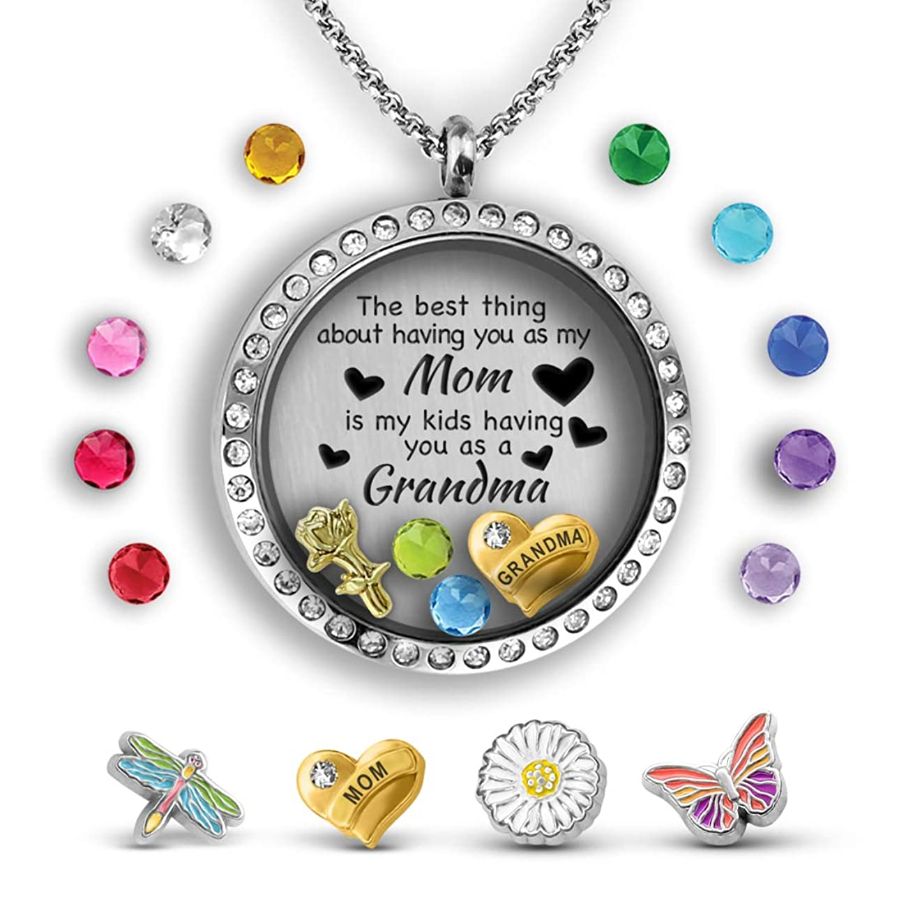 Grandma Gifts For Mothers Day For Mom From Daughter Mother Daughter Necklace Floating Locket Pendant Necklace Grandma Jewelry Gift For Mom From Daughter Best Gifts For Grandma Mom Necklaces For Women