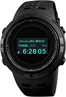Men's Digital Sports Watch OLED Screen Military Outdoor Survival Waterproof Wrist Watch with Dual Time Zone Compass Pedometer Thermometer Stopwatch