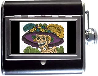 Posada Catrina Color Day Of The Dead 5oz Stainless Steel & Leather Hip Flask with Built-In Cigarette Case