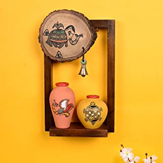 Aakriti Art Creations Wall Décor Shelve with Terracotta Pots