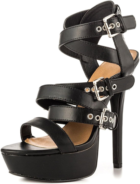 Women's Open-Toe Belt Buckle Sandals Girl Fashion Handsome Waterproof Platform High Heels