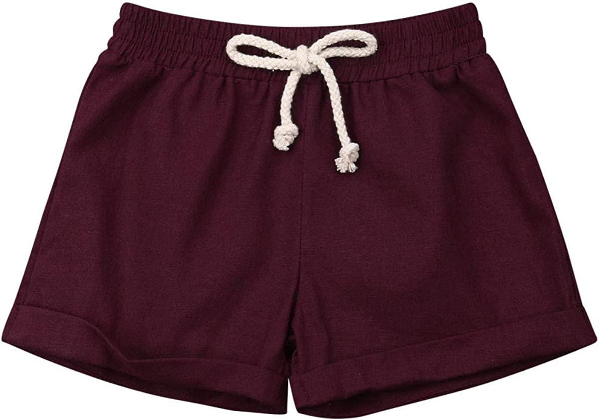 LXXIASHI Toddler Kids Baby Boys Solid Color Cotton Linen Shorts Elastic Waist Drawstring Trousers