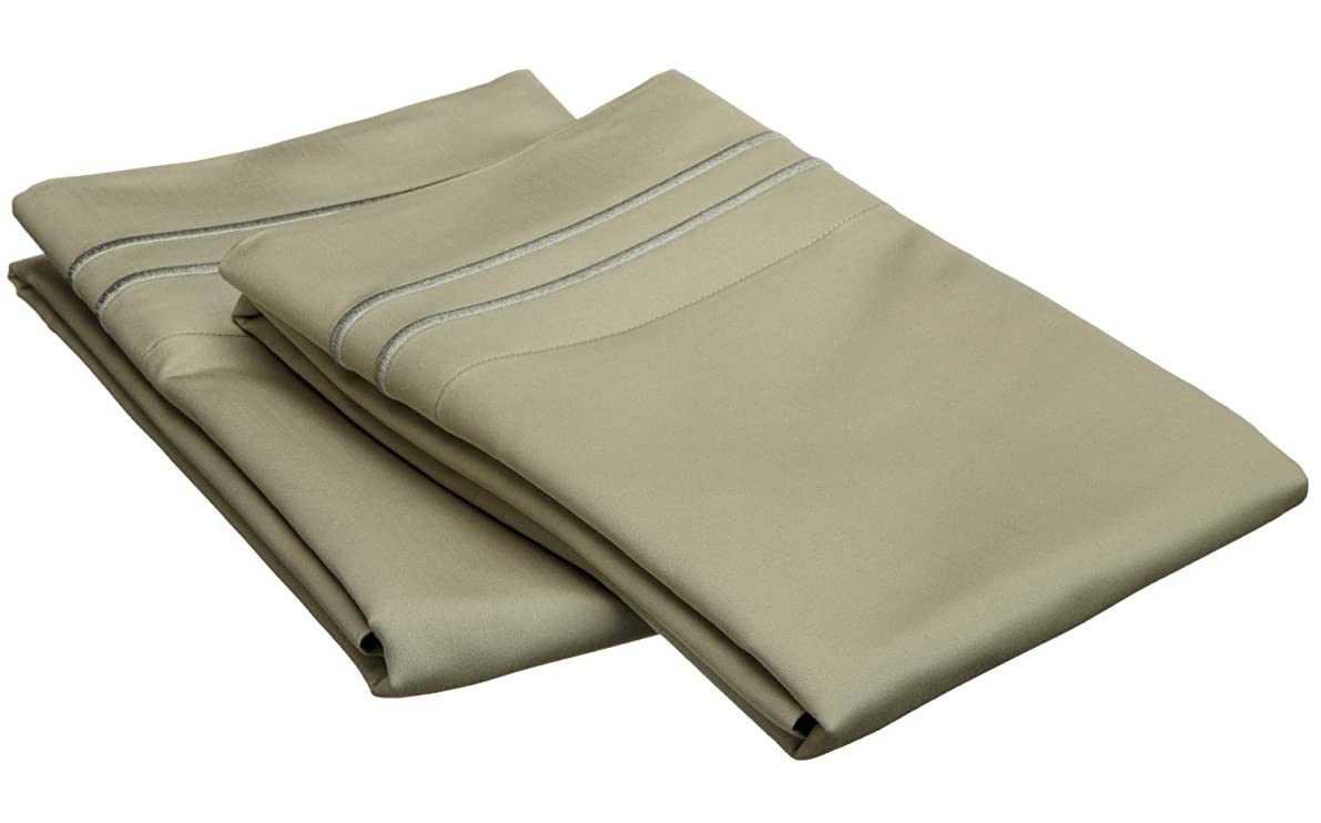 800 Thread Count, 100% Egyptian Cotton, Single Ply Pillowcase Set, King, Sage with Sage Embroidery