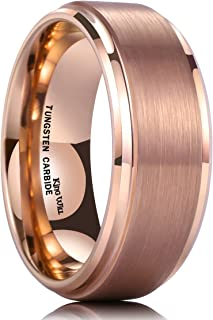 Glory 8mm Rose Gold Plated Tungsten Carbide Ring Wedding Band Matte Finish Comfort Fit