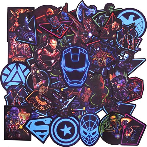 TMEET Neon Superheld Avengers Aufkleber, Gepäck Laptop Aufkleber Skateboard Aufkleber Fahrrad Motorrad Kühlschrank Bombe Aufkleber 50 Stücke, 50 Stücke Neon Superher