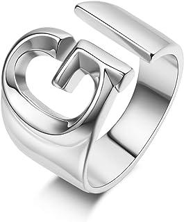 خاتم أولي فضي خواتم حرف للنساء مفتوحة قابلة للتعديل خاتم أولي مكتنزة عريض خواتم بيان أنيقة مجوهرات