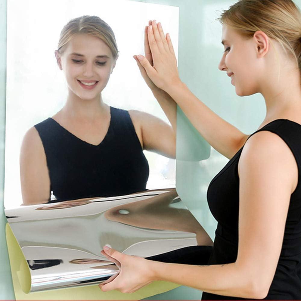 Flexible Mirror Wall Stickers, 16X27inch Non Glass Mirror Sticker Wall Decals Decor, DIY Self-Adhesive Plastic Full Body Mirror Sheet Tiles Stick on Bedroom, Bathroom, Living Room Flat Wall Decor