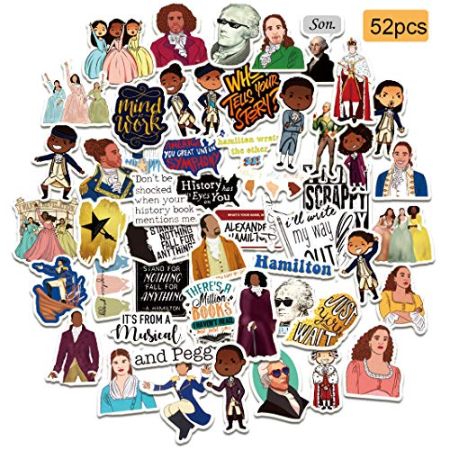 52pcs Hamilton Musical Vinyl Stickers Decals for Laptop, Water Bottle, Bike, Skateboard, Luggage, Computer, Hydro Flask, Toy, Phone, Snowboard. DIY Decoration as Gifts for Kids, Girls, Teens.