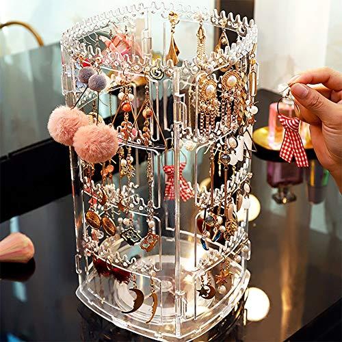 MUY 360 Grados, Agujeros giratorios, Pendientes Transparentes de plástico, Tachuelas, Estante de exhibición, Pendiente, Soporte de exhibición de joyería, Caja de Almacenamiento