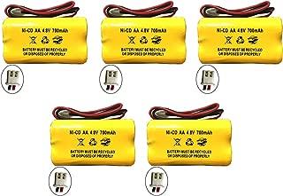 4.8v 700MAH Battery for Exit Sign Emergency Light BL93NC487 BL93NC484 BL93NC485 4.8v 500mah 4.8v 800mah NiCd NiCad Battery Ni Cd White Connector (5 Pack)