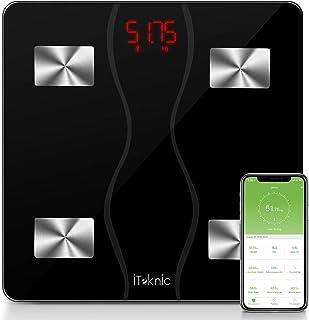 iTeknic Báscula personal Medidor de impedancia, Báscula conectada Báscula personal Báscula electrónica Bluetooth Composición corporal inteligente Medición de peso Grasa muscular BMI Grasa