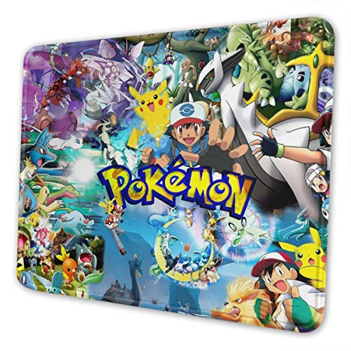 Marcus Roberta Pokemon Mouse Pad with Edge Stitching Texture (Multiple Sizes), Non-Slip Rubber Base Mouse Pad, Suitable for Laptops, Computers and Desks 7.9 X 9.5 in Black