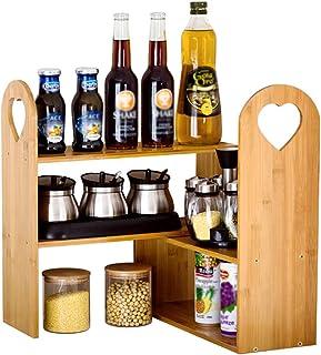 YJKDM Support à épices, Support de Rangement/Organisation en Bois Massif Multifonctionnel de Cuisine, Support d'angle de c...