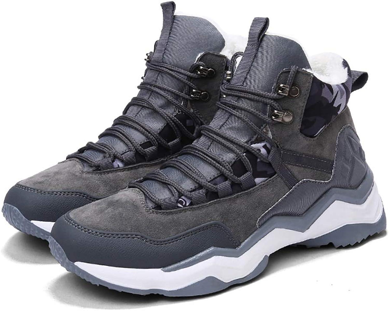 ZYFA Casual shoes Casual shoes suede high-top shoes flat rubber wear-resistant plus velvet Martin boots (color   C, Size   42)