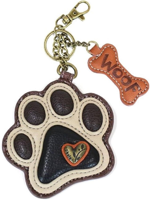 Chala Puppy Dog Paw Print Key Chain Purse Leather (806 Paw)