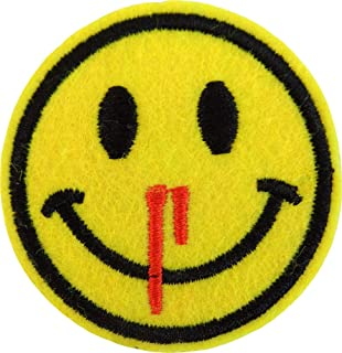 Yellow Bloody Nose Emoji Happy Face - Cut Out Embroidered Iron On or Sew On Patch
