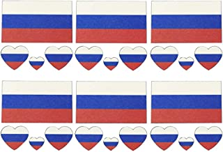 Daqin 1 Piece Set (6 Pieces) Russian Waterproof Flag Tattoo Sticker Temporary Body Sticker Long Lasting Flag Tattoo (Color : Russian flag)