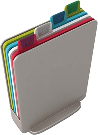 Joseph Joseph 60097 Index Cutting Board Set with Storage Case Plastic Color Coded Dishwasher-Safe, Mini, Silver (Discontinued Model)