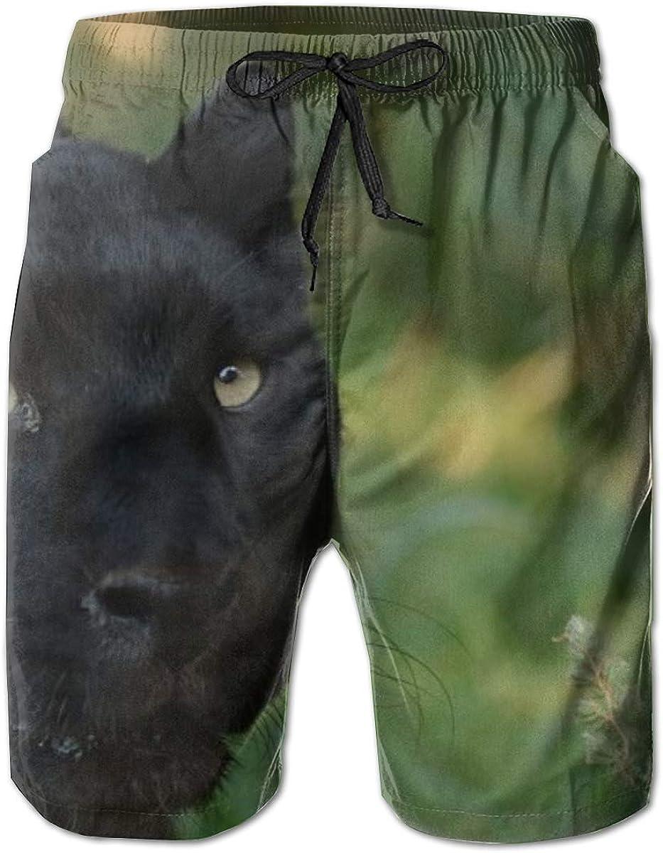 Yt92Pl@00 Sale item Men's 100% Polyester New color Black Predator Panther Swim Trunk