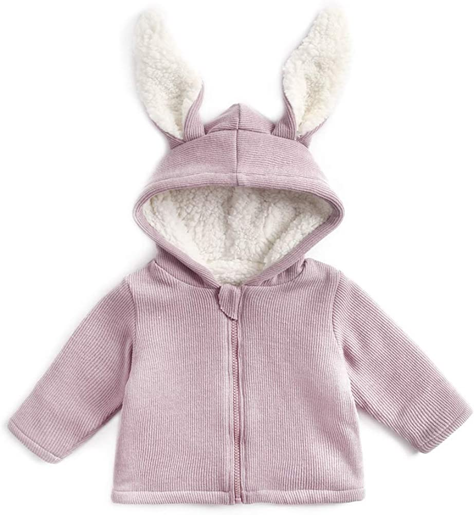 Curipeer Unisex Baby Outwear Jacket with Rabbit Ear Zip up Long Sleeve Hoodie for Baby Boys Girls