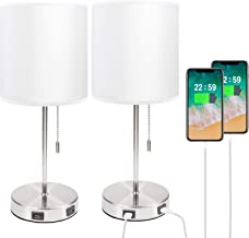 Lamps for Bedrooms Set of 2, Seealle White Table Lamp Set with 2 USB Ports, Sleek Metal Bedside Lamps Set of 2 for Bedroom...