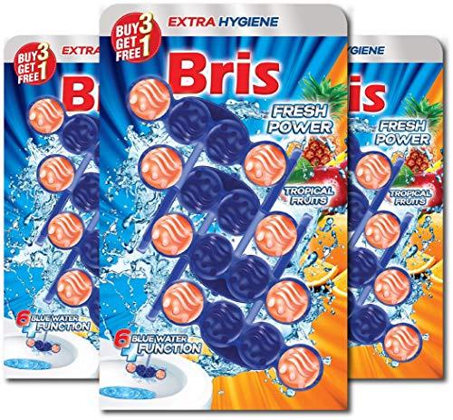 Bris WC Frisch Blau Fresh Power - WC-Reiniger, Extra Hygiene, Antikalk, Antischmutz Kloreiniger Tabs, 12er Pack (3x 4x 55g)