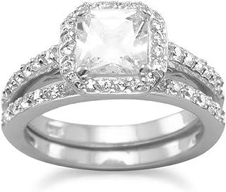 Plata de Ley Circonita 2juego de anillo–tamaño J 1/2