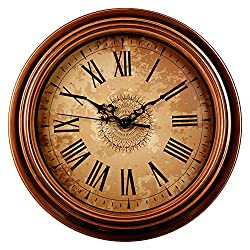 Zaoniy 12-inch Silent Non-Ticking Round Wall Clocks,Decorative Vintage Style Roman Numeral Clock,Home Kitchen/Living Room/Bedroom (Brown)