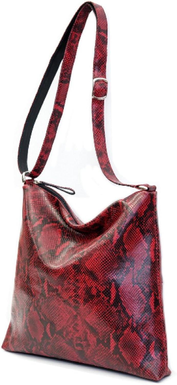 Italian Python on Cowhide Leather Shoulder Bag