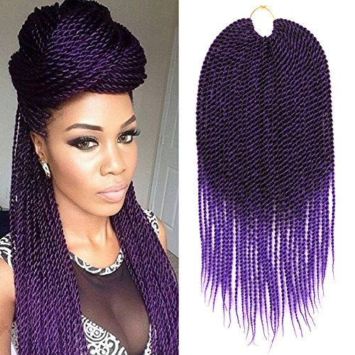 DAIRESS (6 Packs) Ombre Crochet Braids Senegalese Twist Crochet Hair 18Inches 30Stands Synthetic Hair Extensions Crochet Twist Braiding Hair (Ombre Purple)