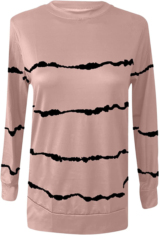 Womens T Shirts Loose Fit Fashion Woman Crewneck Long Sleeve T-Shirt Summer Printing Blouse Tops
