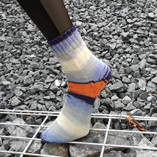 Dicke Socken, handgestrickt, Winter warm, Wollsocken Gr. 38/39, blau/orange