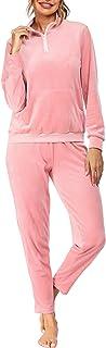Ekouaer Women's Velour Sweatsuit Set Quarter-Zip Sweartshirt and Jogger Pants Pocketed Tracksuits Solid Sport Suits