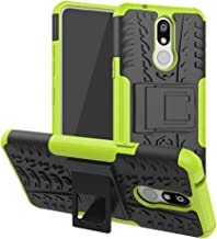 Mobile phone case Shockproof PC + TPU Tire Pattern Case for LG K40, with Holder (Black) (Color : Green)