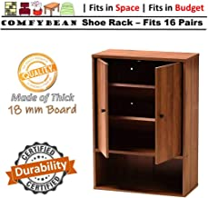 ComfyBean-Baker Shoe Cabinet-Engineered Wood-2 Door Shoe Rack (Fits : 16 Pairs, Finish : Woodpore Laminate Finish, Color : Natural Walnut)