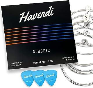 HAVENDI® Gitaarsnaren concertgitaar - briljante geluidskwaliteit snaren van nylon voor klassieke gitaar met zilver ommante...