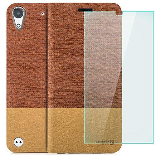 zanasta Designs Tasche HTC Desire 530 Hülle + Panzerfolie Flip Hülle Slim Schutzhülle Handytasche mit Kartenfach, Standfunktion Rotbraun