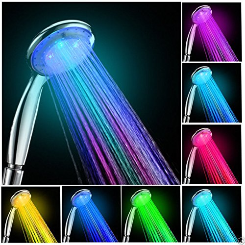 LED Multicolor 7 Colors Rainbow Shower head, Water Glow LED light Shower head